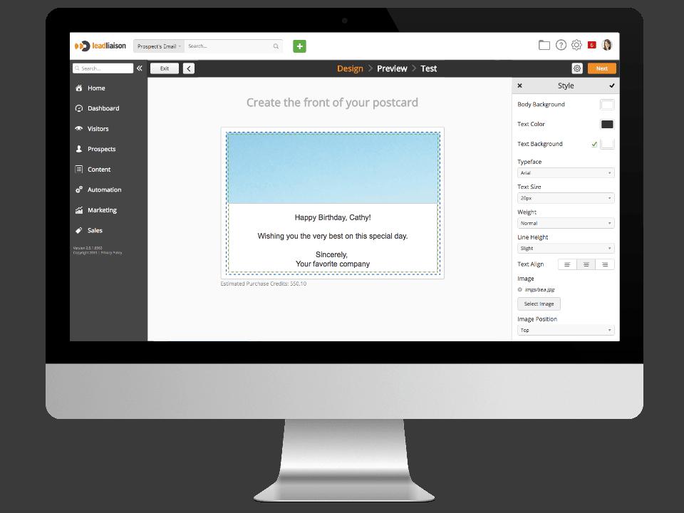 Postcard Screenshot - Inserting Data